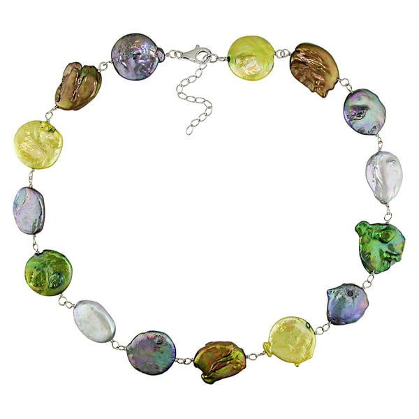 Catherine Catherine Malandrino Multi-color Cultured Freshwater Pearl Necklace with Silver Lobster Clasp