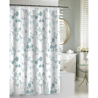 Shop Floral Garden Spa Blue Shower Curtain Free Shipping