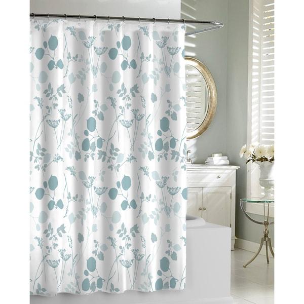 Floral Garden Spa Blue Shower Curtain