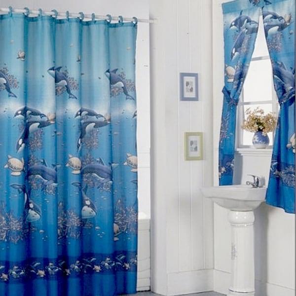Aquarium Blue Shower Curtain Set and 4-piece Window Set