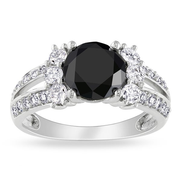 Miadora 14k White Gold 2 5/8ct TDW Black and White Diamond Ring