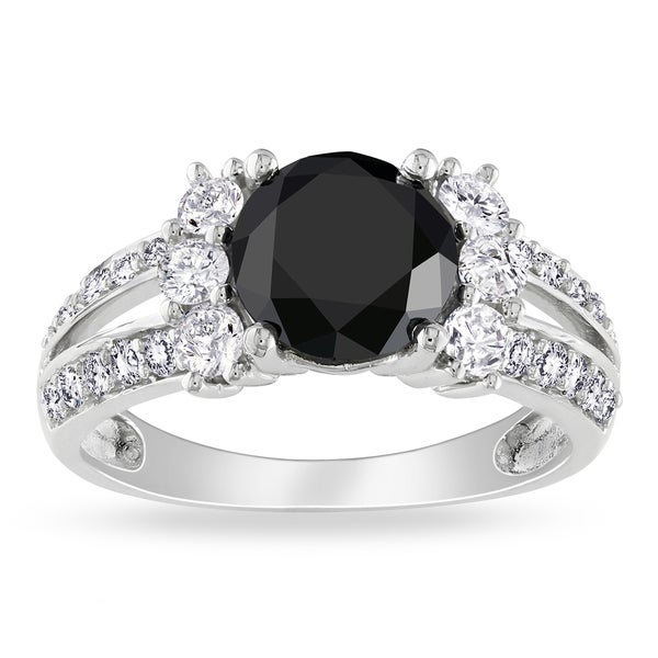 Miadora Signature Collection 14k Gold 2 5/8ct TDW Black and White Diamond Ring