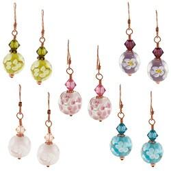 Lola's Jewelry Copper Hand-wrapped Art Glass Flower Design Earrings