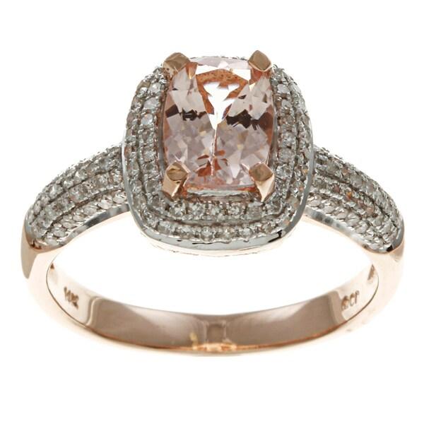 14k Rose Gold Morganite and 1/2ct TDW Diamond Ring (J-K, I2-I3)