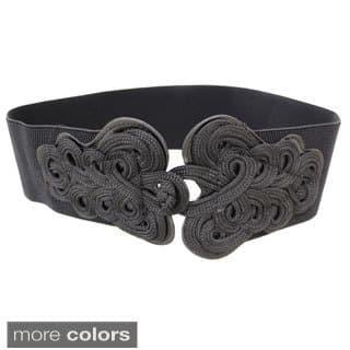 Women's Scrolling Buckle Contoured Elastic High Waist Stretch Belt|https://ak1.ostkcdn.com/images/products/7509306/P14949934.jpg?impolicy=medium