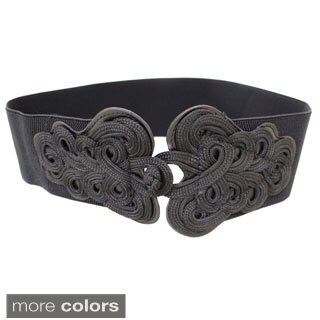 Women's Scrolling Buckle Contoured Elastic High Waist Stretch Belt
