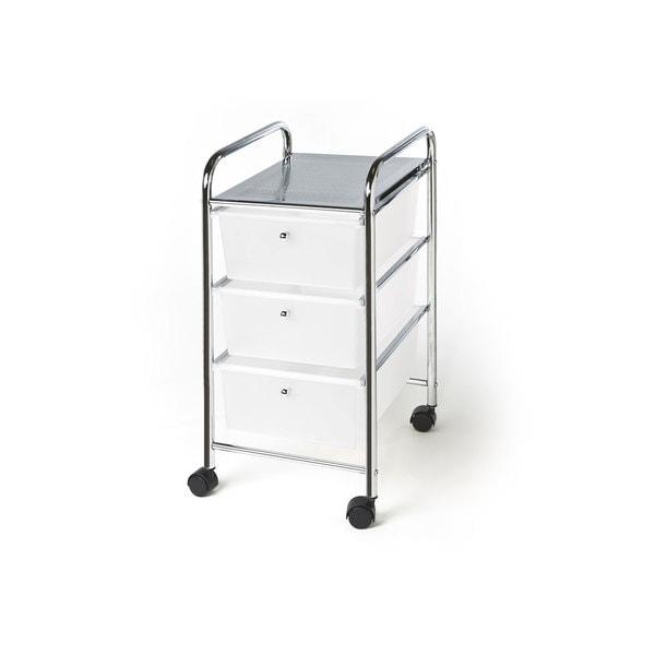 Seville Classics Chrome 3-drawer Trolley Cart