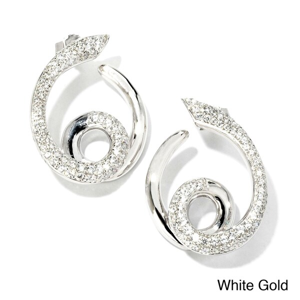 Sonia Bitton 18k Gold 1 1/5ct TDW Designer Diamond Swirl Earrings