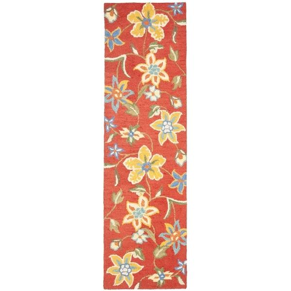 Safavieh Handmade Blossom Rust Wool Rug (2'3 x 6')