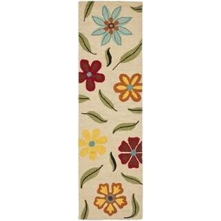 Safavieh Blossom Handmade Beige Wool Runner Rug (2'3 x 6')