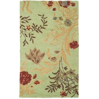 Safavieh Handmade Blossom Green/ Rust Wool Rug (3' x 5')