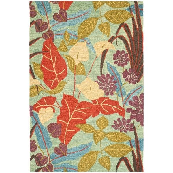 Safavieh Handmade Blossom Blue Traditional Wool Rug
