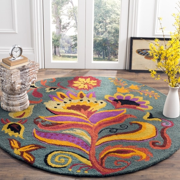 Safavieh Handmade Blossom Blue Indoor Wool Rug