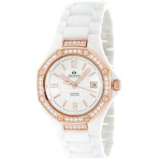 Precimax Women's White Ceramic 'Blush' Crystal Watch