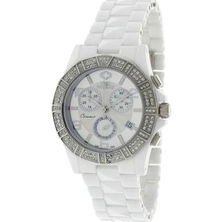 Swiss Precimax Women's White Ceramic 'Luxe Elite' Watch