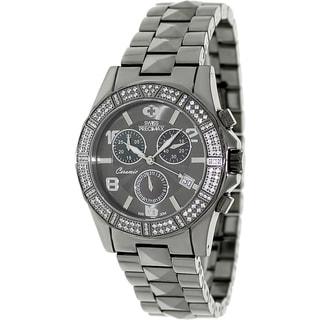 Swiss Precimax Women's Grey Ceramic 'Luxe Elite' Chronograph Watch