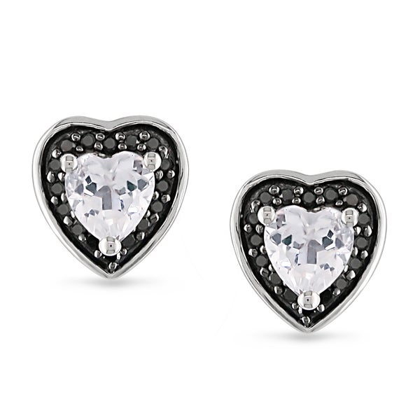 Miadora Sterling Silver White Topaz and 1/8ct TDW Black Diamond Earrings