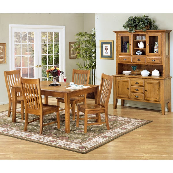 Oak Dining Room Sets With Hutch: Intercon Cambridge Solid Oak 54-inch Rustic China Buffet
