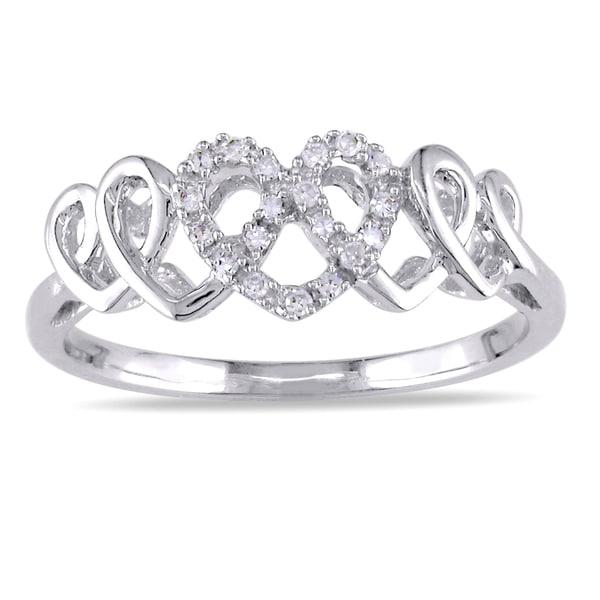 Miadora 10k White Gold 1/10ct TDW Diamond Heart Ring