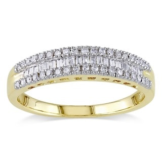 14k Yellow Gold 1/4ct TDW Baguette and Round-Cut Diamond 3-Row Anniversary Band by Miadora