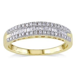 14k Yellow Gold 1/4ct TDW Baguette and Round-Cut Diamond 3-Row Anniversary Band by Miadora|https://ak1.ostkcdn.com/images/products/7509709/P14950244.jpg?impolicy=medium
