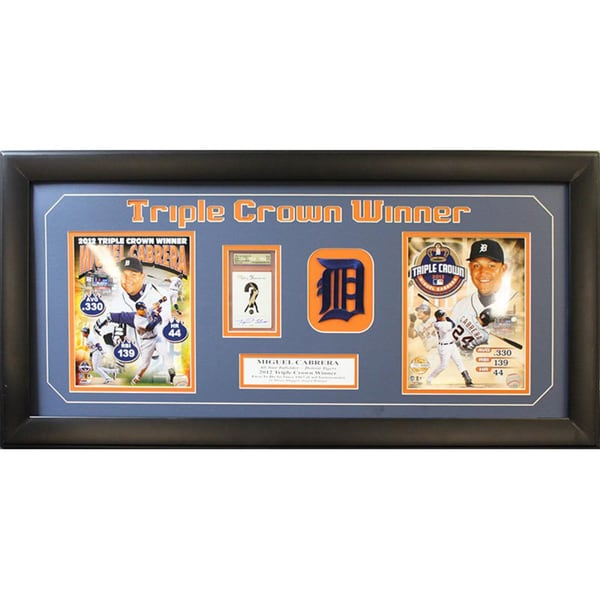 Detroit Tigers Miguel Cabrera Triple Crown Autographed 15x35  2-photo Frame