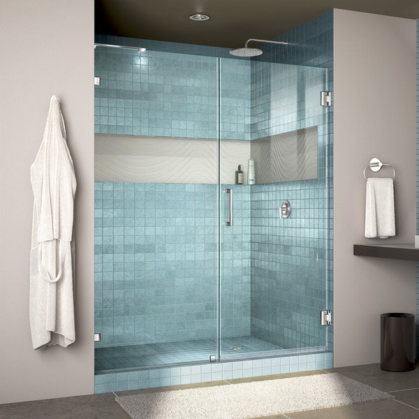 DreamLine Unidoor Lux 53-56 in. Frameless Hinged Shower Door (Non-adjustable & DreamLine Unidoor Lux 53-56 in. Frameless Hinged Shower Door (Non ...