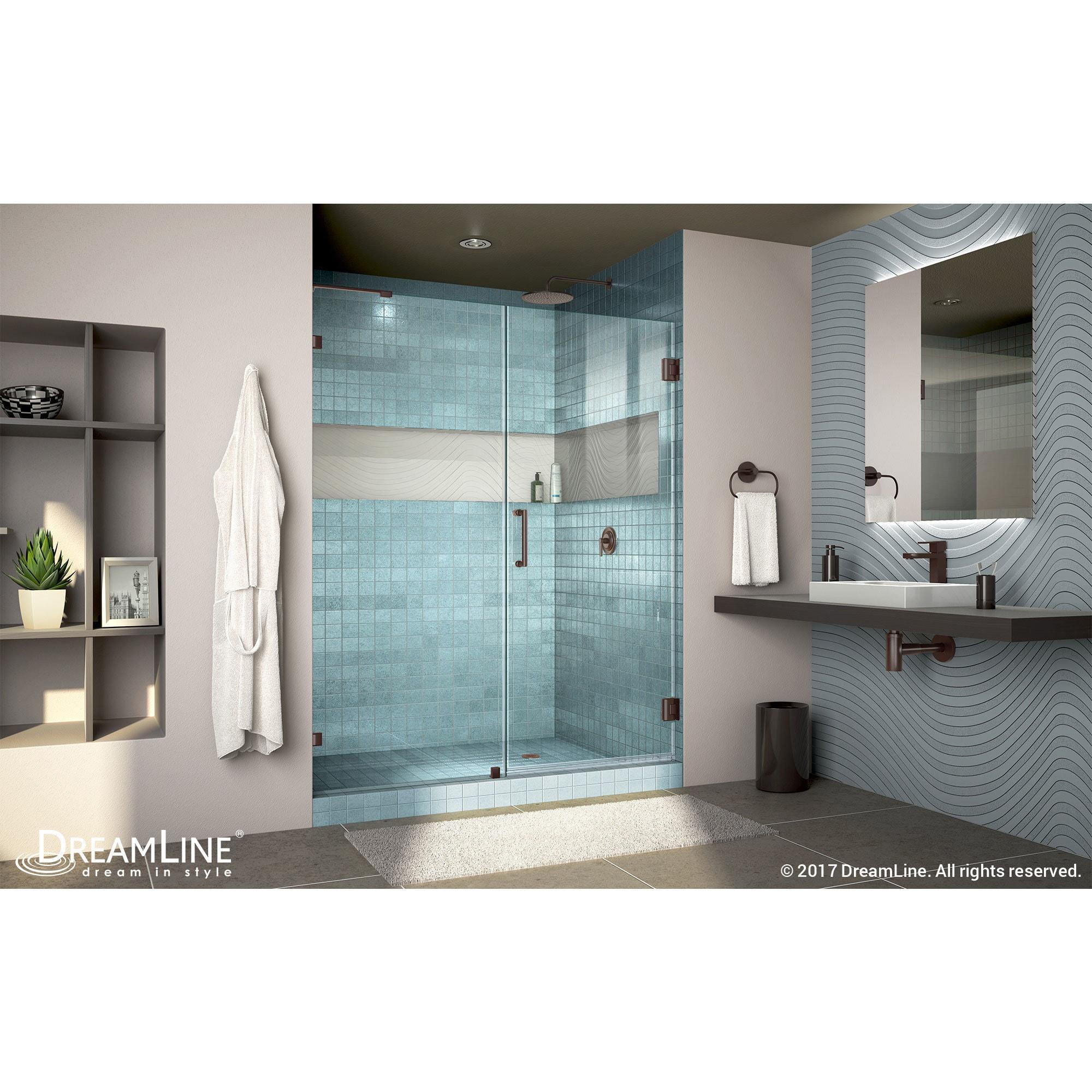 Dreamline Unidoor Lux 53 In W X 72 In H Hinged Shower Door With Support Arm 53 W Overstock 7509751