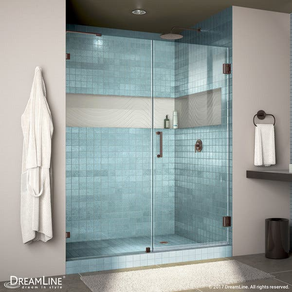 Dreamline Unidoor Lux 57 60 In W X 72 In H Fully Frameless Hinged Shower Door With Support Arm 57 W Overstock 7509752
