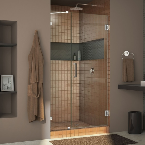 DreamLine Unidoor Lux 37-40 in. W x 72 in. H Fully Frameless Hinged Shower Door with Support Arm