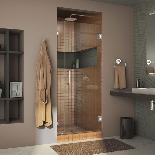 "DreamLine Unidoor Lux 33 in. W x 72 in. H Fully Frameless Hinged Shower Door - 33"" W"