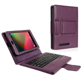 BasAcc Purple Leather Case with Bluetooth Keyboard for Google Nexus 7