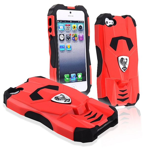 BasAcc Black Skin/ Red Cobra GT Hard Hybrid Case for Apple iPhone 5