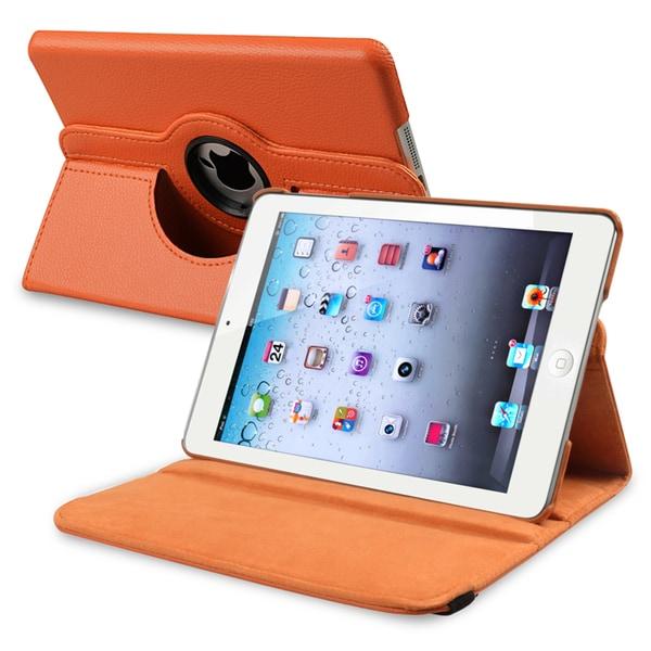 INSTEN Orange Leather Swivel Tablet Case Cover for Apple iPad Mini 1/ 2 Retina Display