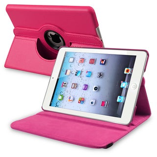 INSTEN Hot Pink Leather Swivel Tablet Case Cover for Apple iPad Mini 1/ 2 Retina Display (Option: Pink)