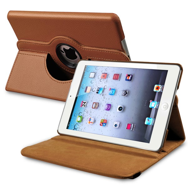 Insten Brown Folio Flip Leather Tablet Case with Swivel Stand for Apple iPad Mini 1/ 2/ 3