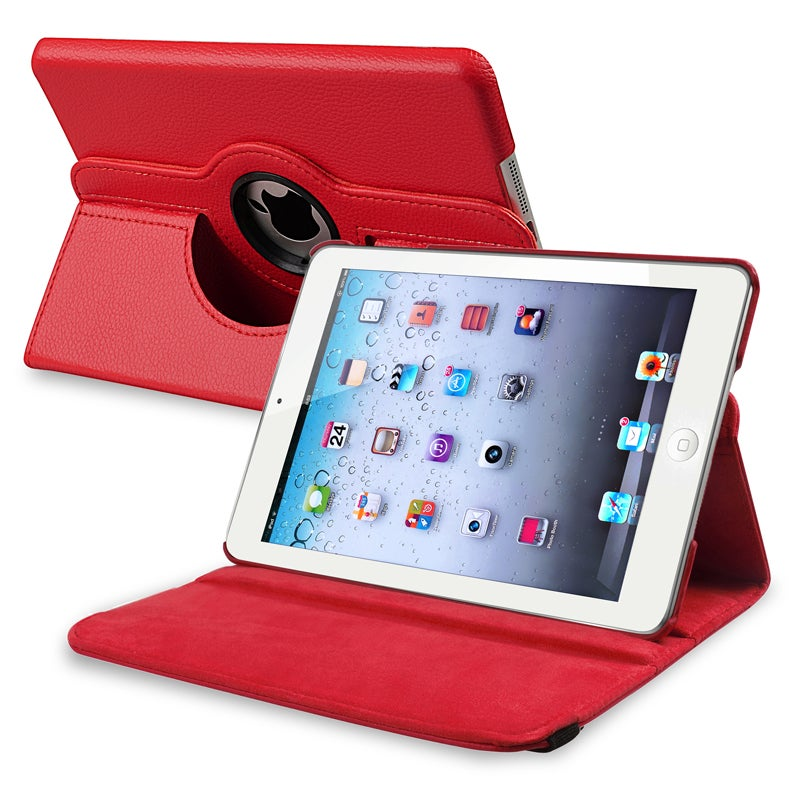 Insten Red Folio Flip Leather Tablet Case with Swivel Sta...