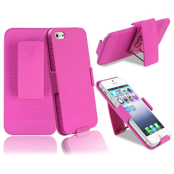 INSTEN Hot Pink Swivel Holster with Stand for Apple iPhone 5