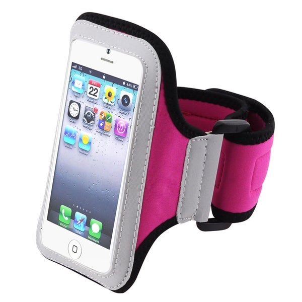 Insten White/ Hot Pink Exercise Gym Running Jogging Sport Armband for Apple iPhone 5/ 5C/ 5S/ iPod Touch 5th/ 6th Gen