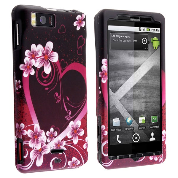 BasAcc Rose Red Heart Rubber Coated Case for Motorola Droid X/ X2