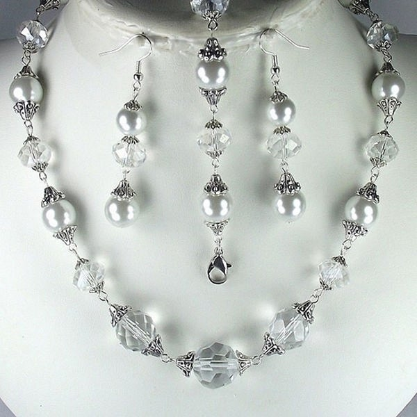 White Glass Pearl and Clear Crystal Jewelry Set