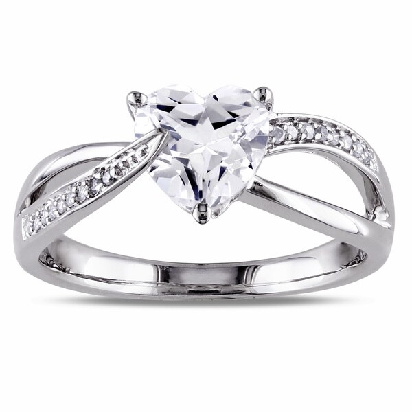 Miadora Sterling Silver White Sapphire and Diamond Heart Ring (H-I, I2-I3)