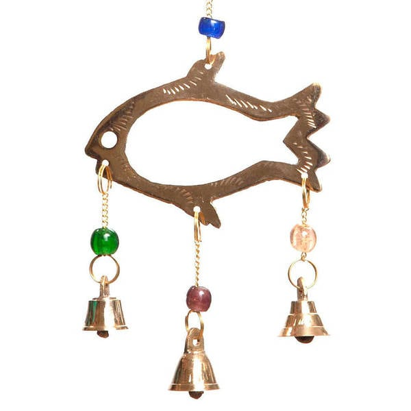 Handmade Brass Bell Fish Wind Chime (India)