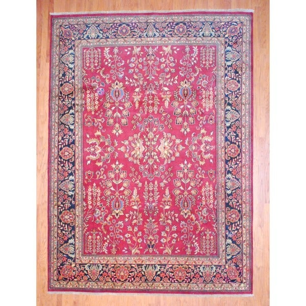Herat Oriental Indo Hand-knotted Sarouk Wool Rug - 9' x 12'