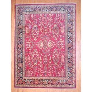 Herat Oriental Indo Hand-knotted Sarouk Rust/ Navy Wool Rug (9' x 12')
