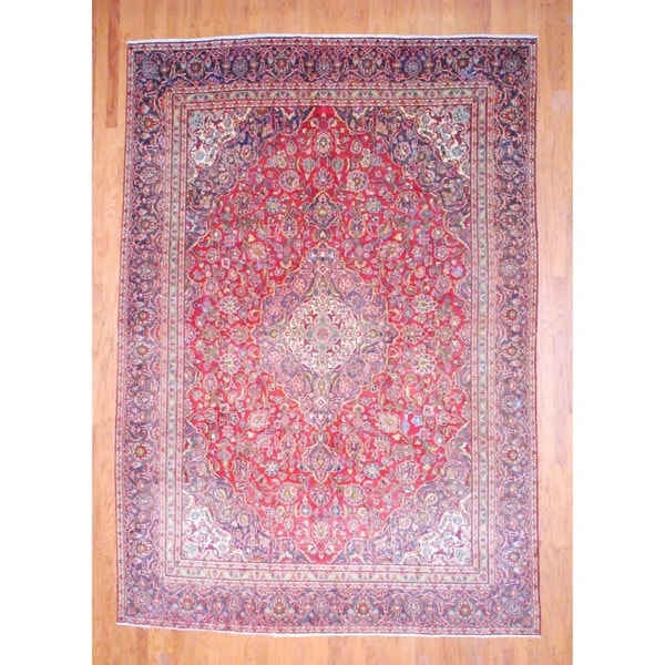 Hand-knotted Herat Oriental Persian Kashan Red and Navy Wool Rug (8'7 x 12'3)