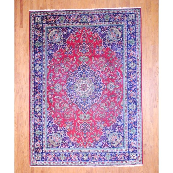Persian Hand-knotted Tabriz Red/ Navy Wool Rug (8' x 11')