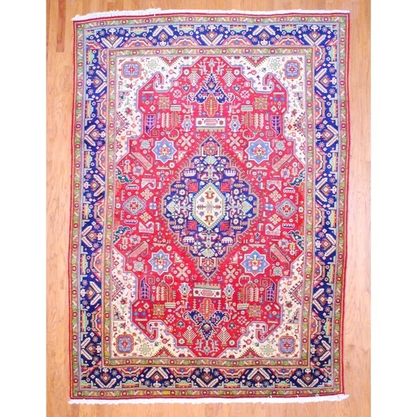 Persian Hand-knotted Tabriz Red/ Navy Wool Rug (8'2 x 11'3)