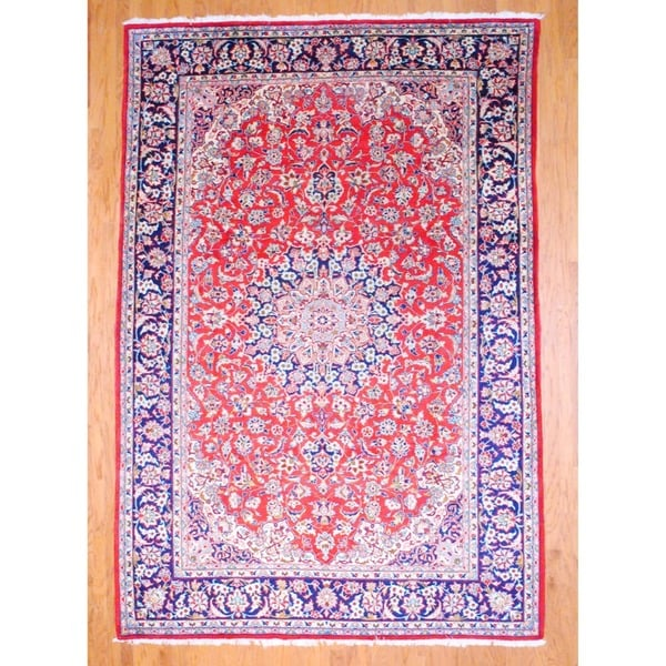 Hand Knotted Persian Isfahan Wool Area Rug: Shop Persian Hand-knotted Isfahan Red/ Navy Wool Rug (8' X