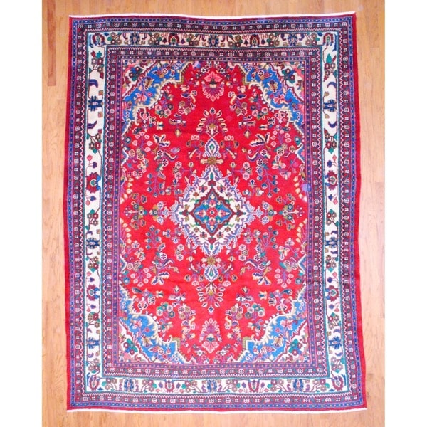 Persian Hand-knotted Hamadan Red/ Ivory Wool Rug (8'4 x 11'1)